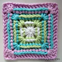 Awesome granny square - pattern for a baby blanket too! Free crochet pattern