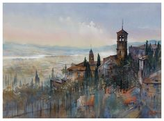 The Fields of Assisi by Thomas W. Schaller Watercolor ~ 22 inches x 30 inches