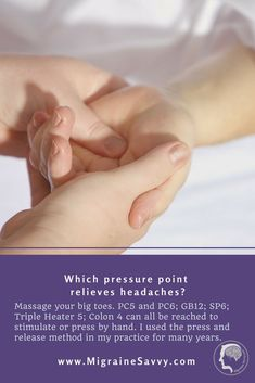 Which pressure point relieves headaches? It's a combination of and This migraine pressure point routine shows exactly where to place pressure for the quickest relief possible. Migraine Pain, Chronic Migraines, Migraine Relief, Pain Relief, Migraine Doctor, Migraine Pressure Points, How To Relieve Migraines, Essential Oils For Headaches