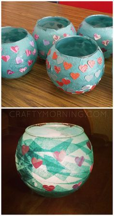 Kid-Made Mod Podge Candle Holders - what a cute mother's day gift idea from the kids!