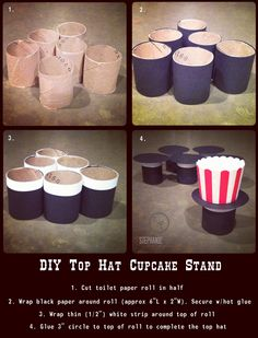 MAGIC PARTY THEME - DIY Top Hat Cupcake Stand (Stephanie Pasutto Photography): Tutorial for making simple but sweet cupcake stands; great for a magic / magician birthday party theme, or could be adapted for a little man party, Dr. Suess theme, and more! Circus Carnival Party, Carnival Birthday Parties, Circus Birthday, Birthday Party Themes, Circus Wedding, Birthday Decorations, 5th Birthday, Birthday Ideas, Magie Party