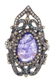 Victorian Tanzanite Pave Diamond Ring - 1.70 ctw  by United Gemco Inc. on @HauteLook