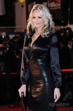 Black Leather Skirt and Black Satin Blouse
