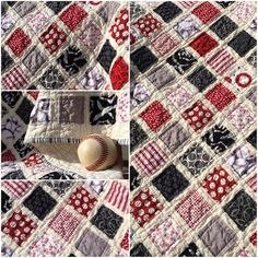 Baseball Vintage Quilt w/Stripey Binding 41 x 39 by stircrazyquilts on Etsy $100