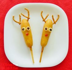 Rudolph the Red Nose Corn Dog Reindeer for Christmas!