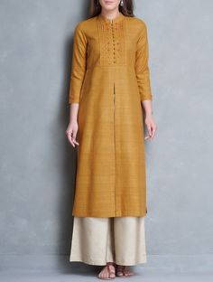 Mustard Mandarin Collar Thread Embroidered Matka Silk Kurta - All About Silk Kurti Designs, Salwar Designs, Kurta Designs Women, Blouse Designs, Kurta Patterns, Dress Patterns, Silk Kurtas, Mode Bollywood, Kurta Style