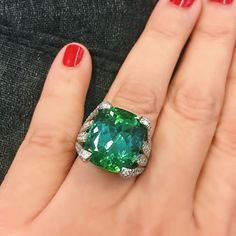 A bright and beautiful sea green tourmaline ring by Verdura. Coming up 4/26/17 in NY. #christies #christiesjewels #jewels #jewelry #jewellery #ring #rings #tourmaline #diamond #diamonds
