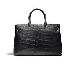 """Belgravia Darcy"" 50 cm black bag with silver hardware from Asprey."
