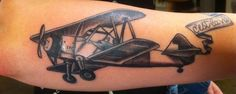 Airplane Tattooed by Jillian Karosa at Damask Tattoo in Seattle, WA  airplane tattoo, bi-plane tattoo, flying tattoo