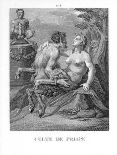 the hoof shoe in history - 'the cult of priapus', with a male and a female satyr woodland deities, represented as part human, part horse (and sometimes part goat) and noted for lasciviousness. Antonio Y Cleopatra, Renaissance Time, Art Vintage, Demonology, Art Database, Illustrations, Erotic Art, Deities, Ancient History