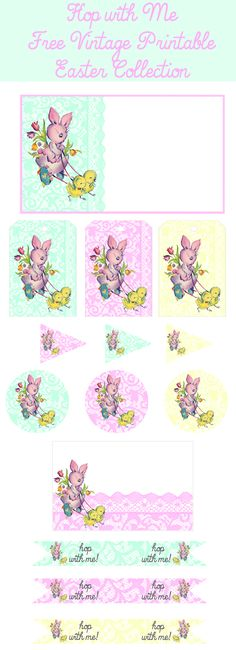 Free Easter Party Printables: Invites, tags, straw flags, party circles, place cards + more www.yesterdayontuesday.com #easter #easterparty #eastercrafts #freeprettythingsforyou #maliakarlinsky #kerendukes