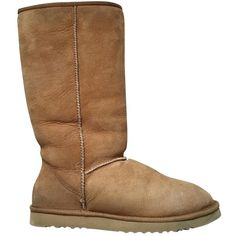 Pre-owned Ugg Snow Boots ($144) ❤ liked on Polyvore featuring shoes, boots, camel, women shoes boots, ugg shoes, ugg footwear, ugg boots, traction shoes and ugg