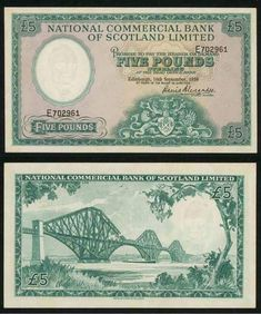 1959 National Commercial Bank of Scotland Five Pounds Banknote Pick Number 266 A Beautiful Extremely Fine or Much Better Currency Pound Sterling, Money Notes, The Forth, Commercial Bank, East Germany, Money Talks, Native Indian, Coin Collecting, Cross Stitch Patterns