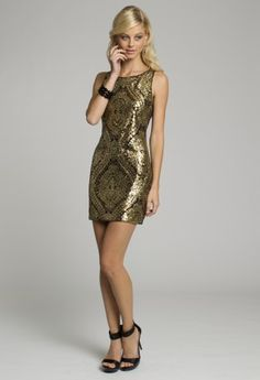 Homecoming and Prom Dresses - Sequin Sheath Short Dress with Back Zipper Gold Black from Camille La Vie and Group USA