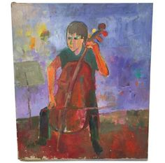 Vintage Oil on Canvas - Mikey at Cello www.reposedny.com www.studiolanereposedny.com