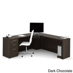 The Bestar Embassy Corner Desk is most certainly not the desk of someone with nothing to do. This handsome desk is made from inch-thick panels of engineered. Office Furniture Stores, Furniture Deals, Business Furniture, Computer Desk With Hutch, Corner Desk, Computer Tables, L Shaped Executive Desk, Sliding Shelves, Large Desk