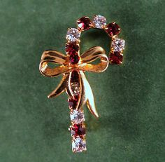 Eisenberg Ice Signed Brooch Vintage Gold Tone Red and Clear Rhinestones | eBay