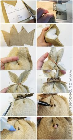 Diy Crafts - These darling burlap bunnies are not just for Easter! They would make a wonderful addition to any floral arrangement or centerpiece or wi Bunny Crafts, Easter Crafts, Easter Decor, Easter Ideas, Easter Centerpiece, Burlap Crafts, Fabric Crafts, Burlap Projects, Art Projects