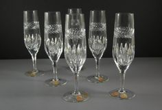 True Vintage Nachtmann Crystal Champagne Flutes / Wine Goblets / Set of 6 with ORIGINAL Tags