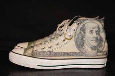 CONVERSE ALL STAR CHUCK TAYLOR MENS SZ 8 $100 BILL HIGH TOP SNEAKER TENNIS SHOES