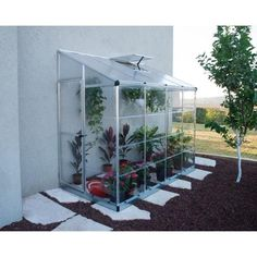 Palram Lean To Grow House 8 ft. x 4 ft. Silver Hybrid Greenhouse-704052 - The Home Depot Small Greenhouse, Greenhouse Plans, Backyard Greenhouse, Lean To Greenhouse Kits, Dome Greenhouse, Greenhouse Wedding, Greenhouse Attached To House, Pallet Greenhouse, Greenhouse Farming