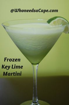 Frozen Key Lime Martini - must try for A! C pineapple 1 C ice 3 ounces Vanilla Vodka 1 ounces of Melon Liquor Splash of cream Juice from 1 lime Summer Cocktails, Cocktail Drinks, Alcoholic Drinks, Drinks Alcohol, Alcohol Recipes, Martini Recipes, Cocktail Recipes, Drink Recipes, Fun Recipes