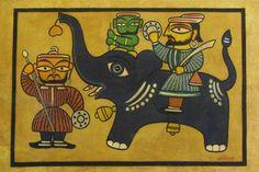 jamini roy paintings - Google Search Indian Traditional Paintings, Indian Paintings, Traditional Art, Madhubani Art, Madhubani Painting, Jamini Roy, Ganesha Drawing, Saree Painting, Textiles