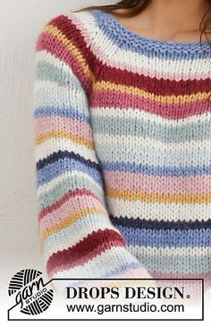 Happy Stripes pattern by DROPS design - платье Summer Knitting, Free Knitting, Baby Knitting, Drops Design, Sweater Knitting Patterns, Knit Patterns, Knitting Pullover, Knitted Slippers, Knit Crochet