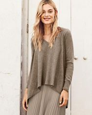 Angled-Side-Seam Cashmere Sweater: GH. like this style