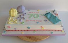 Knitting cake, 70th birthday cake Knitting Cake, Lane Cake, 70th Birthday Cake, Cakes, Desserts, Food, Tailgate Desserts, Scan Bran Cake, Kuchen