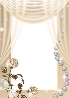 Cream PNG Roses Frame.