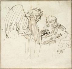 Rembrandt Harmensz. van Rijn, Dutch (Leiden 1606 - 1669 Amsterdam), Zacharias (?) and the Angel, c. 1635. Brown ink on off-white antique laid paper, two framing lines in brown ink, 10.9 x 11.5 cm (4 5/16 x 4 1/2 in.). The Maida and George Abrams Collection, Fogg Art Museum, Harvard University, Cambridge, Massachusetts; 1999.163. © President and Fellows of Harvard College.