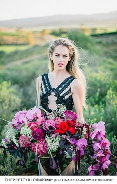 Bold green, pink, red and purple bridal bouquet | Dress by Gavin Rajah | Photograph by Jenni Elizabeth & Aglow Photography | Florals by Bride Sidekick |