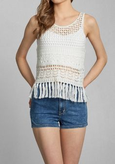 Fringe crochet tank with shorts