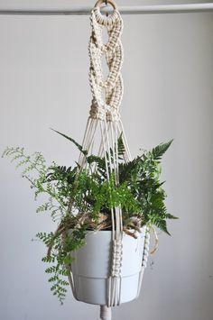 Macrame plant hanger with decorative braid in different variations (see SIZE GUIDE below) Great decoration for boho or scandi home. Perfect gift for a. Indoor Plant Hangers, Hanging Plants, Macrame Plant Holder, Plant Holders, Hygge, Modern Macrame, Boho Dekor, Pot Hanger, Macrame Projects