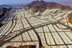 Temporary tent city setup for 2 million Muslims on pilgrim (haj). Mecca, Saudi Arabia