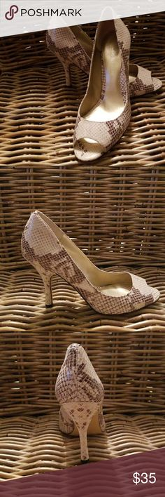 """Enzo Angiolini Heels Sexy Maylie open-toed heels Snake print Leather sole & upper Approx. heel height 3"""" Colors- brown & tan Slightly worn soles Great condition Enzo Angiolini Shoes Heels"""