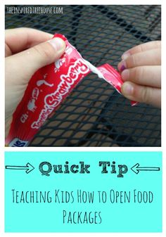 "Quick Tip: Teaching Kids How to Open Food Packages. ""Milk cartons, yogurt cups, snack bags, bananas…all of them take some serious fine motor skills, motor planning, and strength to open! How many of you are still opening packages for your children?"""