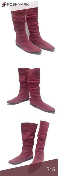 """Pink Suede Slouch Boots Route 66 Pink Suede Pull On Slouch Boots      Size 7     3"""" Wide at Widest Part of Sole     13"""" Tall     14"""" Wide At Opening of Shaft  Cute Boots that don't look like they were ever worn. Route 66 Shoes"""