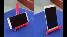DIY Phone Stand Phone stand is the great way to watch content on your smartphone. If you're bored with the ordinary Phone stands, find DIY phone stand and make your own one Popsicle Crafts, Craft Stick Crafts, Diy Crafts, Craft Sticks, Diy Phone Stand, Ipad Stand, Glace Diy, Support Portable, Iphone S6 Plus