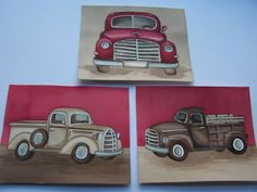 Vintage trucks ashton red brown beige pickup by theprincessandpea, $16.00