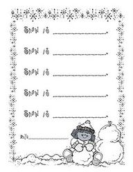"""Snow Is"" writing activity. Great for adjectives."