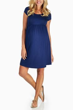 Navy-Blue-Basic-Maternity-Dress #maternity #fashion