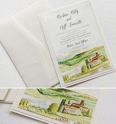 Kristine K Watercolor Italy Landscape Wedding Invitation