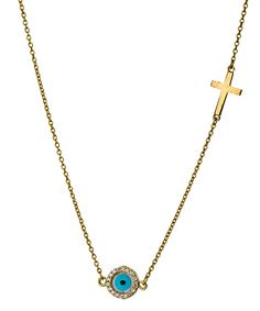 Belair Evil Eye Cross Charm Necklace #maxandchloe