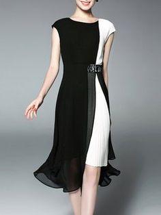 Pleated Chiffon Color-block Casual Sleeveless Midi Dress