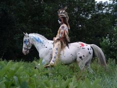 Native American with appy in war paint