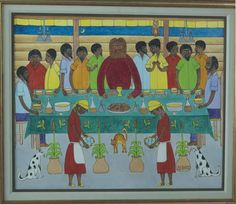 A market painting by Haitian Seymour Bottex from Galerie Macondo