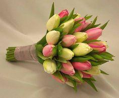 Cream & Pink Tulip Bridal Posy Bouquet