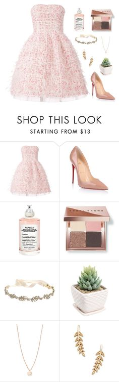 """""""just me, being a princess."""" by amaninaa ❤ liked on Polyvore featuring Oscar de la Renta, Christian Louboutin, Maison Margiela, Bobbi Brown Cosmetics, Marchesa, Ginette NY, Sole Society, Pink, cold and frozen"""